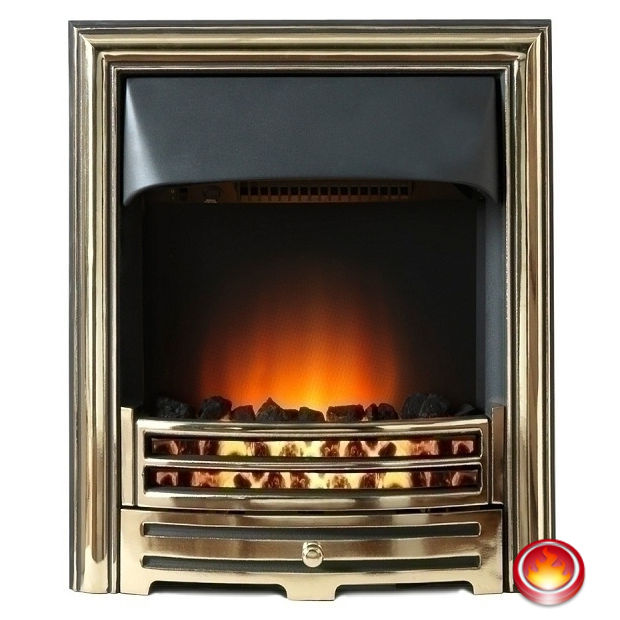 Electro Two 16 Inch Inset Electric Fire Fireplace Shop Traditional Brass Fret Manchester
